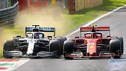 Charles Leclerc, Ferrari SF90 holds off Lewis Hamilton, Mercedes F1 W10, 2019 Italian Grand Prix, Monza, 8th September.jpg