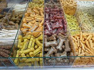 Dog food - Dog treats are special types of dog food given as a reward, not as a staple food source.