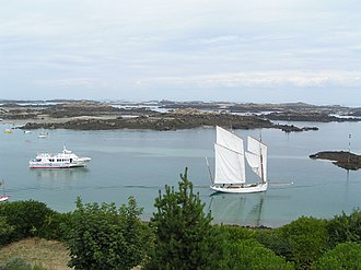 Chausey - Boats in Chausey Sound. The two-master on the right is a traditional type known as a Bisquine.