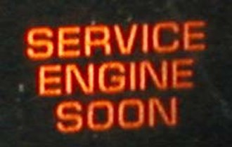 "Check engine light - A Malfunction Indicator Lamp, this one labeled ""Service Engine Soon""."