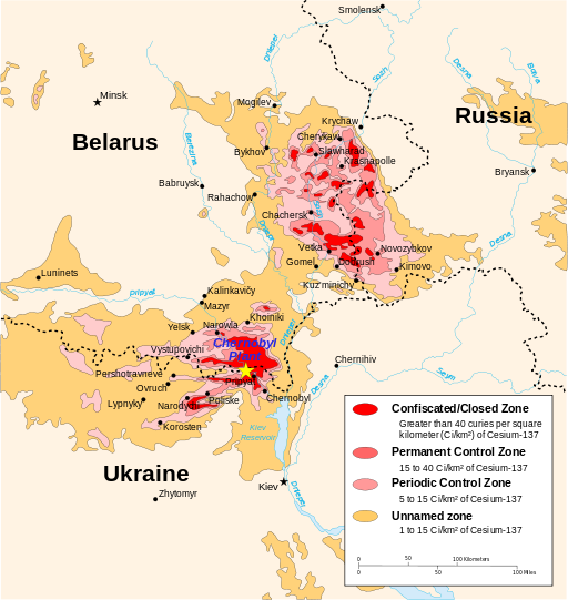 Chernobyl radiation map 1996