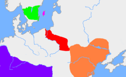 The green area is the traditional extent of Götaland and the dark pink area is the island of Gotland. The red area is the extent of the Wielbark culture in the early 3rd century, and the orange area is the Chernyakhov culture, in the early 4th century. The purple area is the Roman Empire