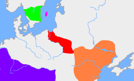 The dark pink area is the island of Gotland. The green area is the traditional extent of Götaland. The red area is the extent of the Wielbark culture in the early 3rd century, and the orange area is the Chernyakhov culture, in the early 4th century. The purple area is the Roman Empire - Goths