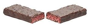 Cherry Ripe (chocolate bar) - A split Cherry Ripe.