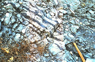 Chert - Chert (dark bands) in the Devonian Corriganville-New Creek limestone, Everett, Pennsylvania