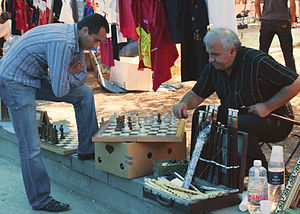 Chess in Armenia - Two men playing chess in Yerevan Vernissage
