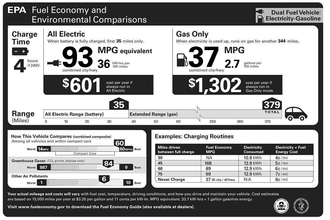 2010 Monroney sticker for a plug-in hybrid showing fuel economy in all-electric mode and gas-only mode. Chevy Volt EPA Fuel Economy Official Label.png