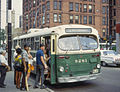 Chicago Brill trolley bus 9281 loading on route 72-North Ave at Clark St in 1967.jpg