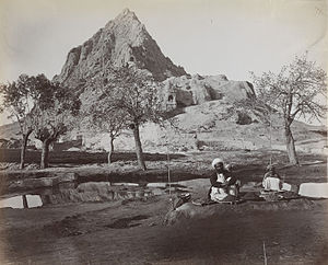 Kandahar Bilingual Rock Inscription - Image: Chilzina Mountain at Kandahar in 1881