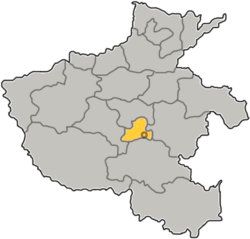 Location of Luohe City jurisdiction in Henan