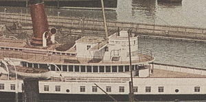 Texas (steamboat) - Cropped image of Chippewa, focusing on the texas which is located just aft of the pilothouse
