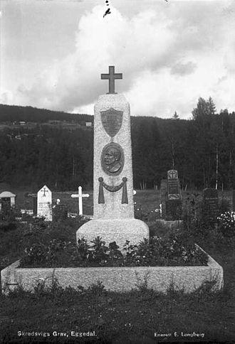 Christian Skredsvig - Christian Skredsvig's grave in Eggedal
