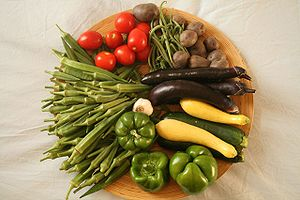 Community-supported agriculture - An example of a week's CSA share, including bell peppers, okra, tomatoes, beans, potatoes, garlic, eggplant, and squash