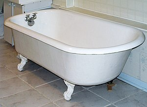"Bathtub - Private cast iron bathtubs with porcelain interiors on ""claw foot"" pedestals rose to popularity in the 19th century"