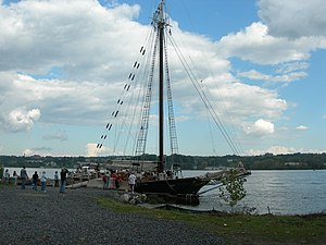 Hudson River Sloop Clearwater - Clearwater docked near Poughkeepsie Bridge for local festival