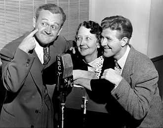 Cliff Arquette - Arquette at left in 1941, during a rehearsal for the radio show Point Sublime.