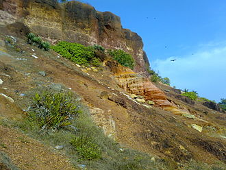 Thiruvananthapuram district - Cliffs at Varkala, Thiruvanatnthapuram district. It is the only place in southern Kerala where cliffs are found adjacent to the Arabian Sea