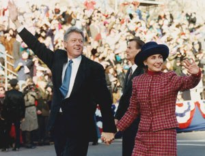 First inauguration of Bill Clinton - The President and the First Lady during the parade