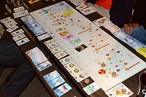Tōkaidō (road) - A Tokaido board game session in progress