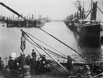 Cardiff Docks - Coal ships tied up at Cardiff Docks