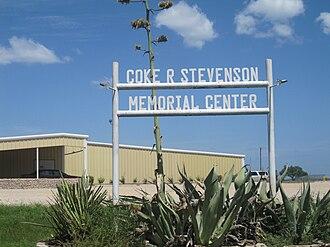 Coke R. Stevenson - The Coke R. Stevenson Memorial Center meeting hall is located off Interstate 10 in Junction, Texas.