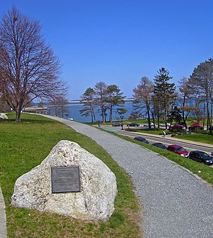 Cole's Hill - NHL plaque on Cole's Hill with Plymouth Bay in background, 2008