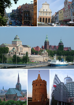 Top: Jagiellońska Street, Hey Market and auld toun haw Middle: The Oder, Sea Museum an Voivodeship Office Bottom: St James' Cathedral, Virgin Tower, PAZIM biggin