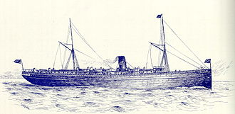 SS Columbia (1880) - Artwork of the SS Columbia in the late 1890s. The Union Pacific Railroad logo is sported on the ship's funnel.