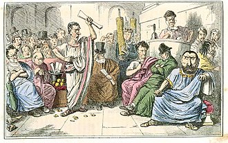 First Catilinarian conspiracy - Comic depiction of Cicero denouncing Catiline. (Note anachronisms, such as top hats and other Victorian clothing.)