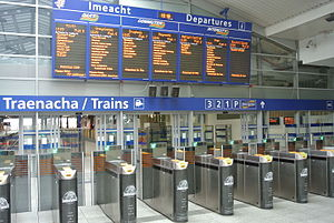 Dublin Connolly railway station - Departures board in June 2015