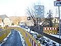 Construction works in Marburg with fence at Lahn bridge Weidenhäuser Brücke, a view from Rudolphsplatz 2018-02-27.jpg