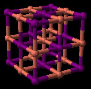 Copper(I) iodide - Image: Copper(I) iodide (alpha) unit cell 3D balls