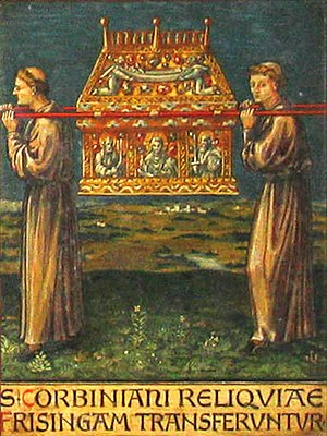 Translation (relic) - Depiction of St. Corbinian's relics being moved to Freising from Merano. From a panel in the crypt of Freising Cathedral.