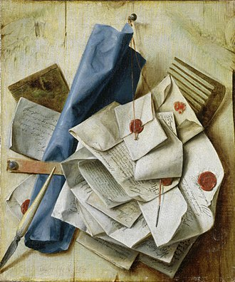 Sealing wax - Letters sealed with sealing wax in a painting by Cornelis Norbertus Gysbrechts (1665).