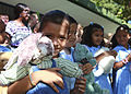 Costa Rican school children gather together after receiving stuffed animals from U.S. Marines and Sailors working with nongovernmental organization Give a Kid a Backpack at Hone Creek School in Hone Creek, Costa 100825-M-PC721-001.jpg