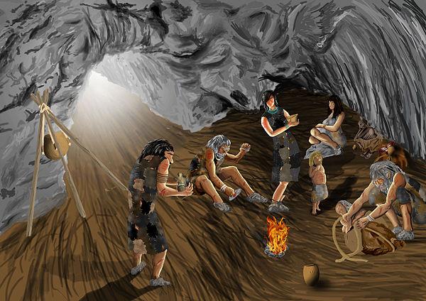 Familie in der Höhle
