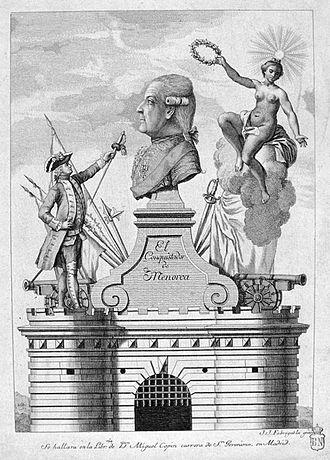 Louis des Balbes de Berton de Crillon, duc de Mahon - A 1782 Spanish print commemorating Crillon's victory on Minorca