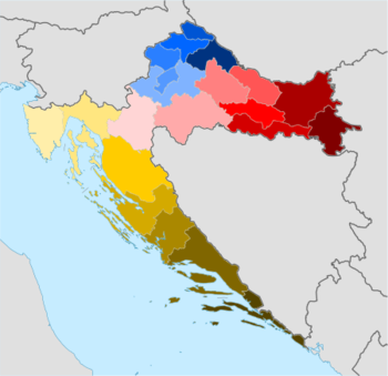 Map of present-day counties of Croatia