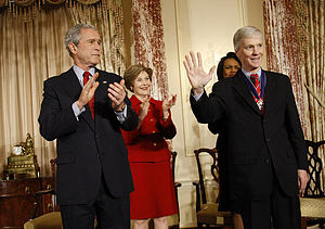Ryan Crocker - Crocker (right) is presented with the Presidential Medal of Freedom; (from left: President George W. Bush, First Lady Laura Bush, Secretary of State Condoleezza Rice, Crocker)