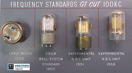 Very early Bell Labs crystals from Vectron International Collection Crystal Units Frequency Standard Oscillator XO VCXO OCXO TCXO Bell Labs AT&T Vectron.jpg