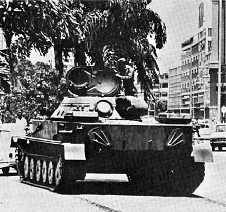 Cuban PT-76 tank in the streets of Luanda, 1976. Cuban PT-76 Angola.JPG
