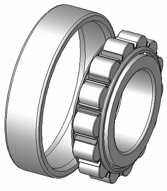 Ransome & Marles - Cylindrical roller bearing outer race off to show its rollers