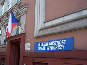 Bilingual sign - Czech and Polish bilingual signs during the municipal elections in Český Těšín, Czech Republic