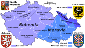 Map of the Czech Republic with traditional regions and current administrative regions