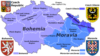 Czech lands - Czech historical lands and current administrative regions (kraje)