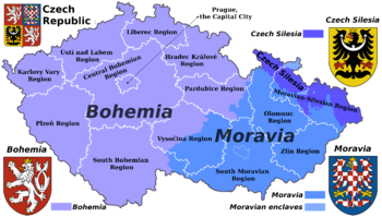 English: Map of the Czech republic showing the...