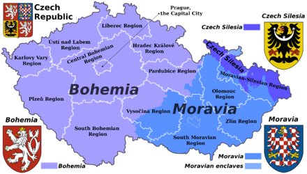 Map of the Czech Republic with traditional regions and current administrative regions Czech Rep. - Bohemia, Moravia and Silesia III (en).png