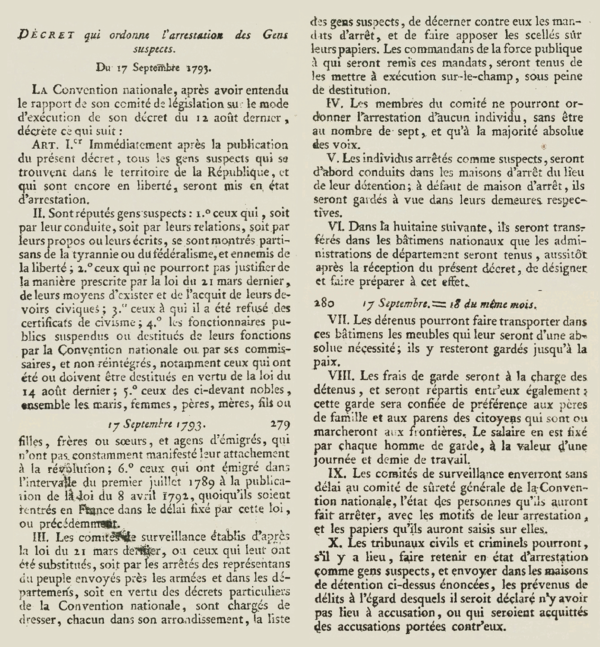 "Text of the decree, issued by the French National Convention, ordering ""the arrest of Suspect People"", 17 September 1793.[12]"