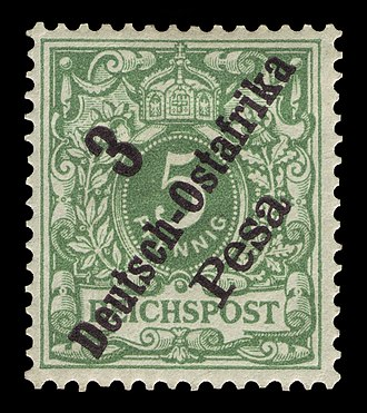 "Postage stamps and postal history of German East Africa - German stamp overprinted ""Deutsch-Ostafrika"" and surcharged in pesa, 1896."
