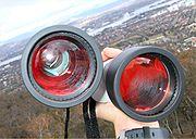 Binocular with internal elements visible